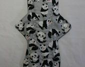 ZORB Kiki Mama Cloth Menstrual Pad Overnight 12 in Size Panda Bears on Gray