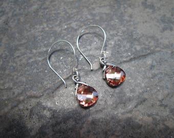 NEW Swarovski Crystal Rosaline Gold briolette earrings Sterling Silver Earrings Wedding Jewelry Prom Jewelry Blush pink earrings