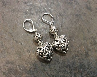 Filigree Dragonfly Heart earrings with leverback closures and silver filigree beads puffed heart earrings Gift for Her