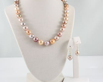 Kasumi pearl necklace earrings set, hand knotted, nucleated, ripple pearls, freshwater, handcrafted clasp ear hooks, gold: Simply Adorned