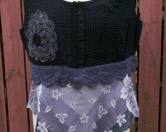Black Gray and Purple Crop Top with Lace-Vintage Hankie-Gypsy Altered Clothing-Summer Blouse-Size Large