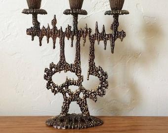 Vintage Brass Wainberg Candle Holder, Candelabra, Brutalist Brass Mid Century Candlestick Holder, Sabbath Shabbat Judaica Made in Israel