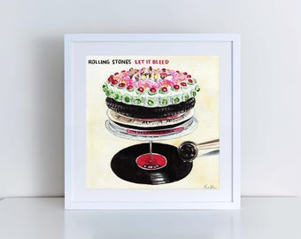 The Rolling Stones Art Let It Bleed Album Rolling Stones Print Mick Jagger Art Rolling Stones Poster Classic Rock Art Watercolor Canvas