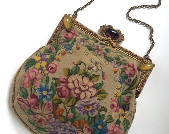 Antique Jeweled Petit Point Purse
