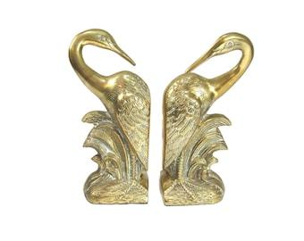 Egret Bookends Brass Egret Bookends Crane Bookends Brass Heron Birds Bookends Pelican Bookends Nautical Beach Decor