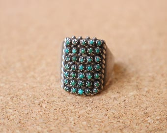 Turquoise Cluster RING / Zuni Style Jewelry / Vintage Snake Eye Turquoise Ring Size 5 1/2