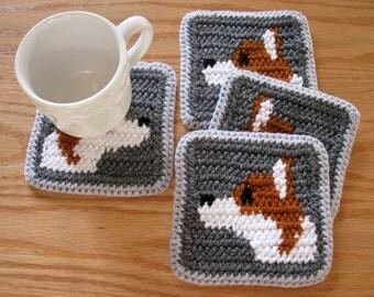 Corgi Dog Cup Coasters. Gray, crochet coasters with Pembroke Welsh corgis. Corgi art decor. Dog mug rug. Corgi gift