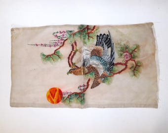 Antique Chinese silk work embroidery embroidered panel eagle bird