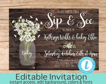 Sip & See invitation, Sip and See Shower Invitation, Rustic Baby Shower, Mason Jar, Editable Invitation Template, Templett Instant Download