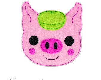 Little Pig 3 Feltie Embroidery Design, pig feltie, machine embroidery, ITH, in the hoop, 4x4, pig embroidery, three little pigs embroidery