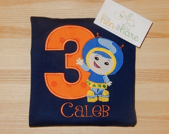 Team Umizoomi Geo birthday shirt or onesie personalized any age and name custom made embroidered applique boy girl party gift present