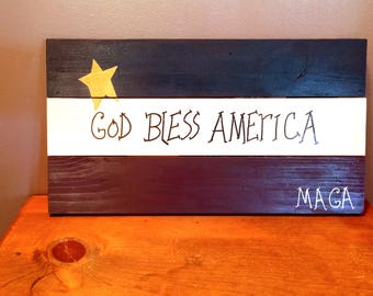 GOD Bless AMERICA sign for July 4th, Patriotic Decor,July Decor,door hanger Make America Great Again, Americana home decor