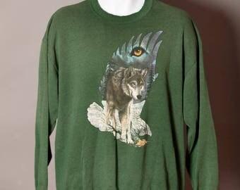 Worn Vintage 80s 90s Wolf Eagle Sweatshirt