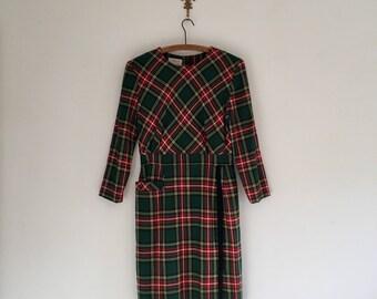 Vintage 80's Green Christmas Plaid Holiday Dress S M
