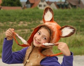 Red Fox hat - Fox felted Hat - Fox Earflap Kids & Adults - Cosplay Hat - LARP Hat - Fox Costume - Fox Ears - Animal Fox hat - Ready to Ship