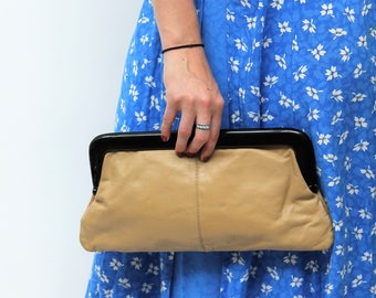 Beige Clutch Handbag with Brown Perspex Clasp