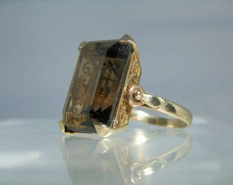 Vintage Gold RIng 14K Yellow Gold Smoky Quartz Size 9 Cocktail Ring Rectangle Cut Gemstone Hollywood Regency DanPickedMinerals