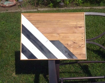 Abstract striped black and white recycled pallet wood wall art