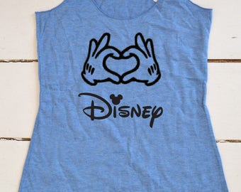 Disney Hand Heart. Women's Eco Tri-Blend Tanks. Women Clothing. Disney Tank Top. Disney Gift Triblend Tank.