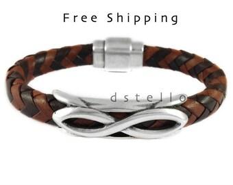 Infinity bracelet men, Infinity bracelet leather, Eternity, Men's gift, for him, Birthday, Anniversary, Braided made in Spain, Custom made