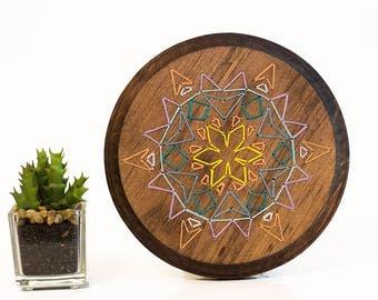 Mandala wood sign, mandala string art, wood embroidery, bohemian wood sign, nursery decor, stitched wood sign, colorful mandala art