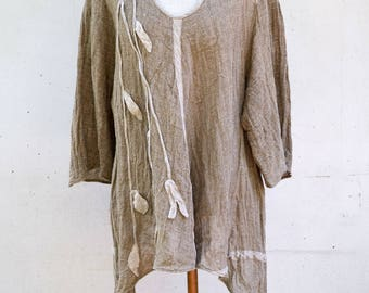 Large LINEN tunic M size, eco hemp flax tank OOAK woman unique fashion design, natural eco flax clothing, wearable art to wear european B6