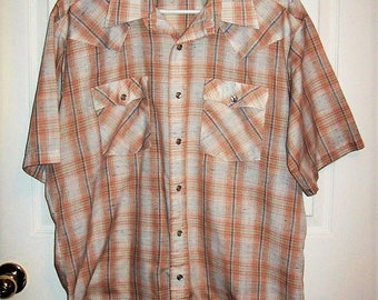 """Vintage Men's Tan Plaid Snap Front Western Shirt by Campus XL 17 - 17 1/2"""" Neck Only 7 USD"""