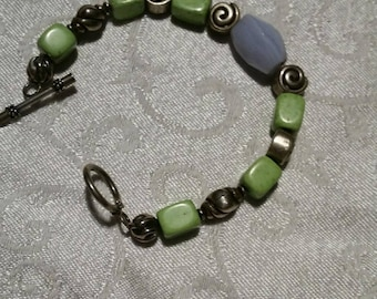 Sterling silver and vintage bead bracelet