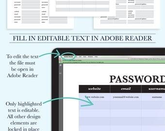 Password Keeper Printable, Password Organizer, Password Log, Password Tracker, Password Printable, Password Book PDF, Letter Size Planner