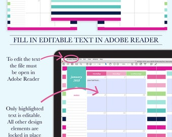 2018 Calendar Printable, 2018 Desktop Calendar, Kitchen Calendar Printable, Printable Desk Calendar, Wall calendar, Monthly Office Calendar