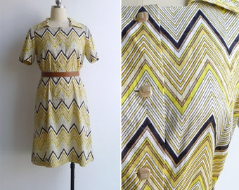 15% SALE (Code In Shop) - Vintage 70's Lemon Yellow Zig Zag Print Cotton Shirt Dress M or L