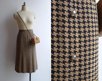 10-25% OFF Code In Shop - Vintage 80's Military Style Houndtooth Print Skirt XS or S
