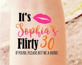 30th Birthday Party Temporary Tattoos Dirty 30 Custom Tattoos Party Favor Flirty 30 Gift Party Girls Night