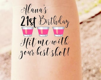 21st Birthday Hit Me With Your Best Shot 21 Years Old Twenty One Birthday Gift Party Favor Tattoos Temporary Tattoos