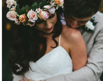 Flower crown, wedding hair accessory. Cream, peach, soft orange roses, wax flower. Boho wedding hair flower crown. Silk flower air accessory