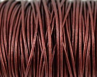 2mm Metallic Maroon Leather Round Cord