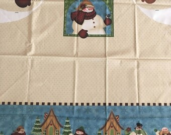 "Christmas ""Snowman Family Apron"" new designer cotton fabric panel by Angela Anderson for VIP by Cranston with instructions and supplies"