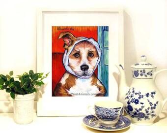 Get Well Pet Painting, Dog Print, Pitt Bull Art, Dog Portrait, Giclee Dog Art Print, 10 x 8 Dog Art Print by Jemmas Gems