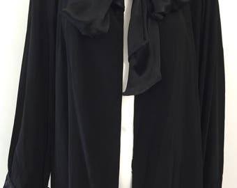 Stunning Black Crepe 1930's Coat
