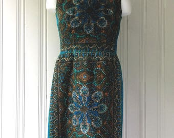 vintage 1960s Floral Shift dress brown blue and green coarse linen sleeveless party dress