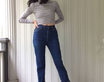 """HIGH WAISTED LEE Jeans 1980s Cotton Denim Leather Lee Riders Label Waist 30"""" vintage jeans Made In Canada"""
