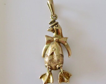 Dancing Penguin 9ct Gold Charm or Pendant
