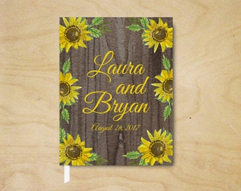 Sunflower Guest Book, Personalized Sunflower Wedding Guest Book, Rustic Guest Book, Hardcover Guest Book, Bridal Shower Guest Book, Country