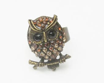 Vintage Brown Toned Rhinestone Antiqued Gold Tone Owl Bird 1970's Costume Jewelry Statement Ring Size 8 Gift For Her Best Deal