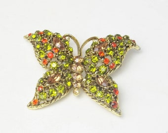 Olive Green Orange Topaz Rhinestone Domed 1950's Vintage Brooch Hollywood Glamour LARGE Costume Jewelry Butterfly Pin Gift For Her Best Deal