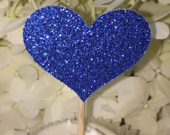 120 BLUE HEART Cupcake Toppers Royal Blue Wedding Cake Decorations Food Picks Wedding Decorations
