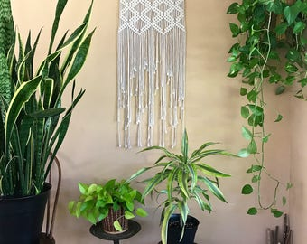 "Macrame Wall Hanging - Natural White Cotton Rope on 18"" Dowel - Art Deco Diamond Pattern - Boho Home, Nursery Decor - Ready To Ship"