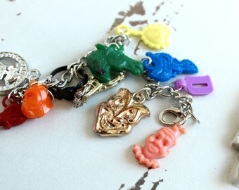 Charm Bracelet , Cracker Jack charms, vintage, up cycled, recycled, repurposed, funky, jewelry, gum ball, gumball