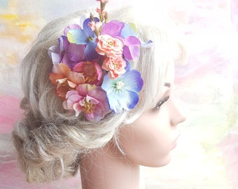 Floral fascinator in lavender and coral. Flower boho hairclip. Romantic flowergirl bridesmaid raceday teaparty