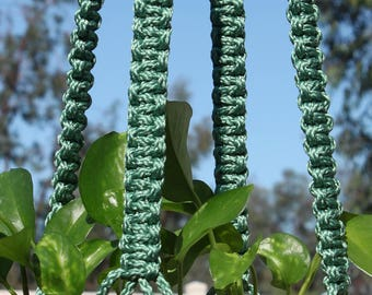 CLASSIC - Handmade Macrame Plant Hanger Plant Holder with Wood Beads - 6mm Braided Poly Cord in SAGE Green